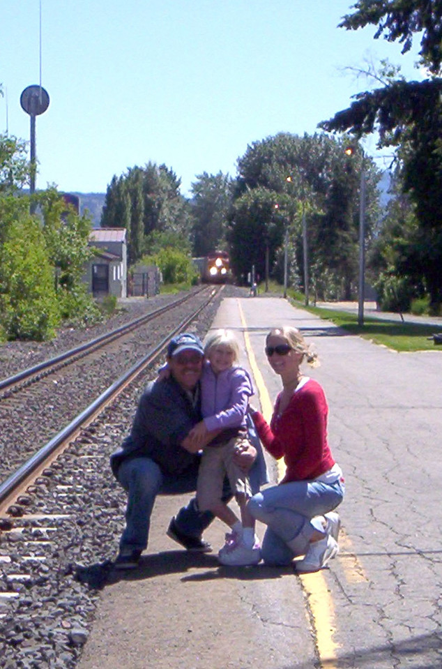 Papa Dave, Taylor, Rebekah at Train Depot in Sand Point